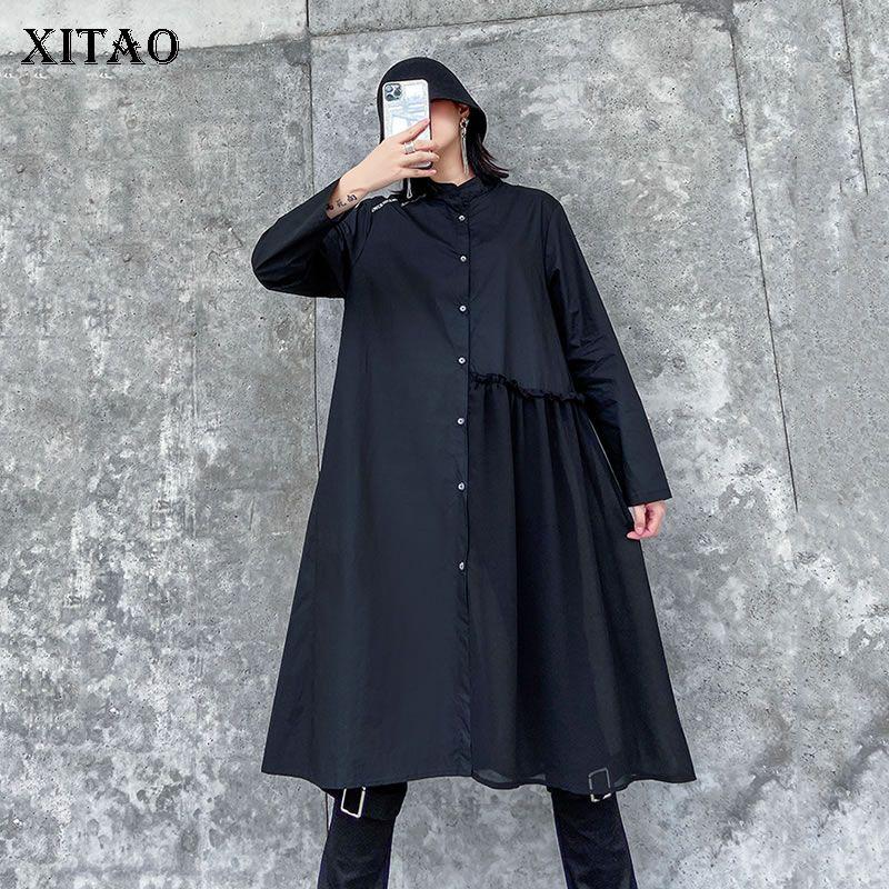 Xitao Minority Vintage Mulheres Blusas Plus Size Estilo francês Mid-comprimento de costura Chiffon camisa de manga comprida Moda XJ3942 Preto