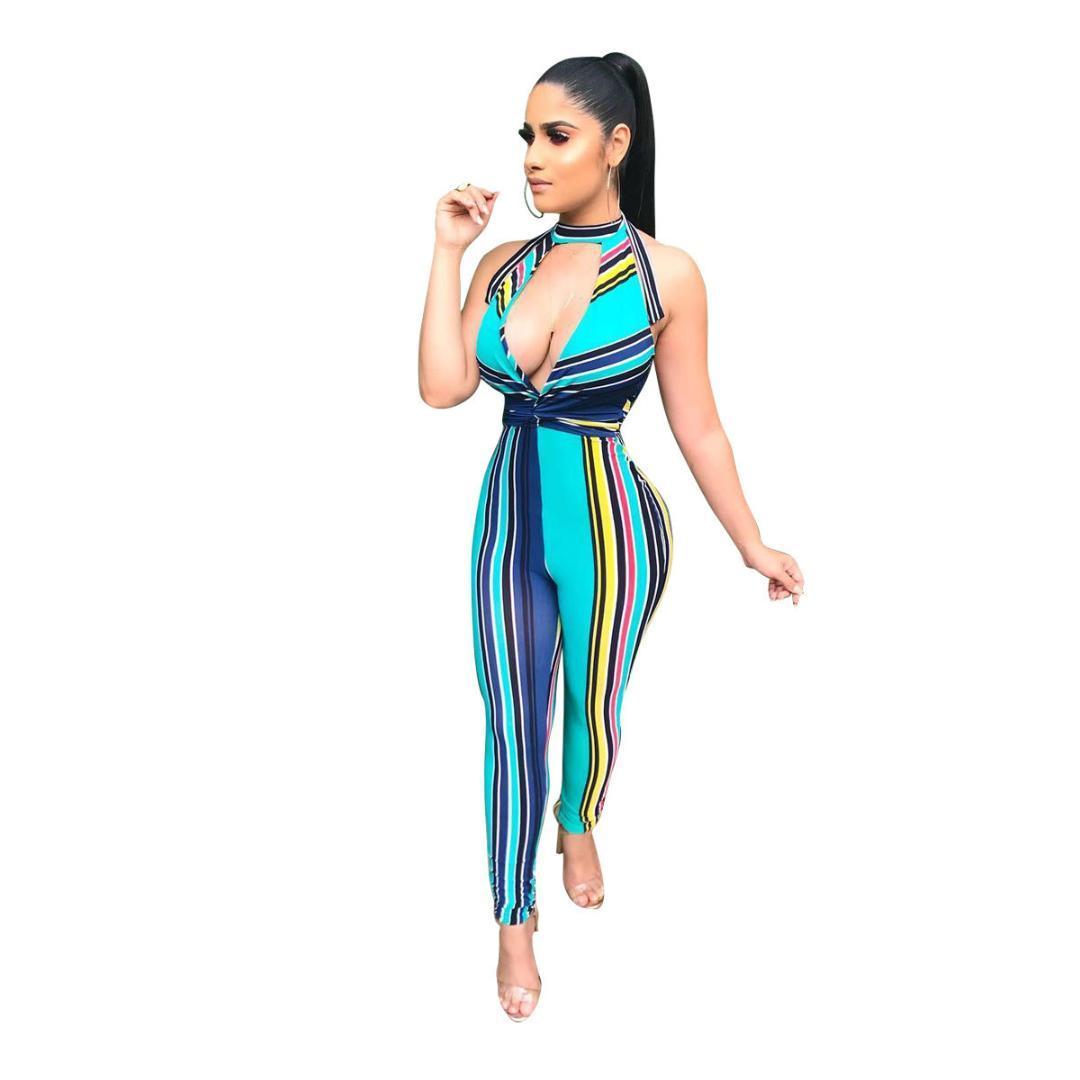 2019 Verão New Romper Sexy Profundo Decote Em V Sem Mangas Halter Backless Stripe Bodycon Jumpsuits Mulheres Partido Clubwear Macacões