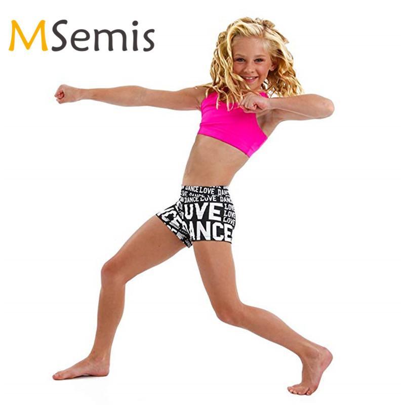 2PCS crianças meninas do ballet dancewear Tankini Outfit de alças com letras impressas Bottoms Set for Ballet Ginástica Leotard para a menina