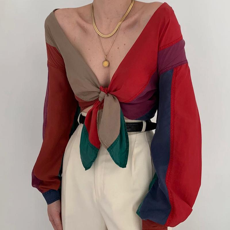 V-Yaka Tie Kontrast Renk Bluz Kadınlar Uzun Kollu Gömlek Streetwear