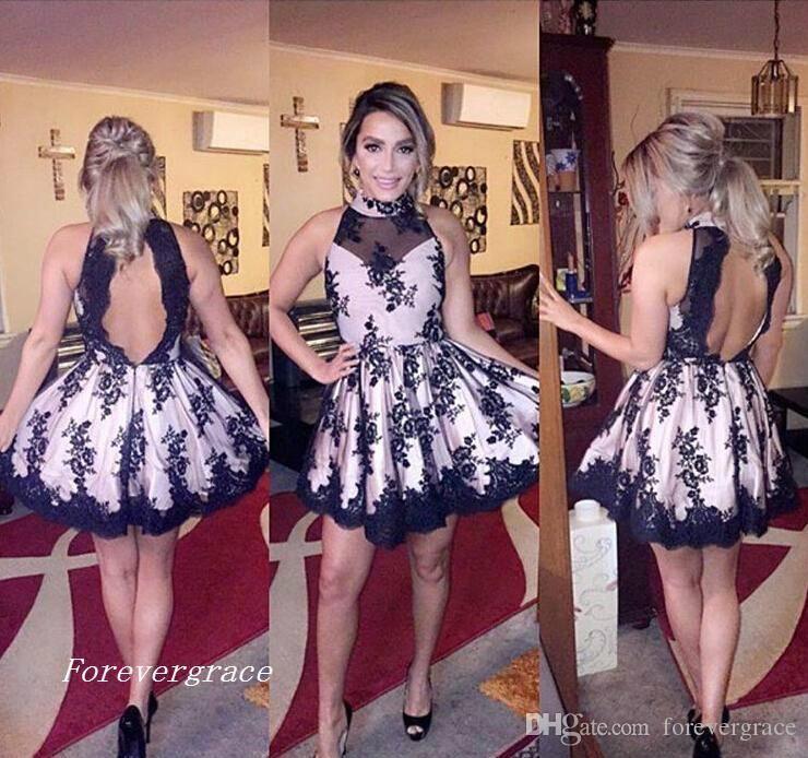 2019 Modest High Neck Black Homecoming Dress A Line Backless Short Juniors Sweet 15 Graduation Cocktail Party Dress Plus Size Custom Made