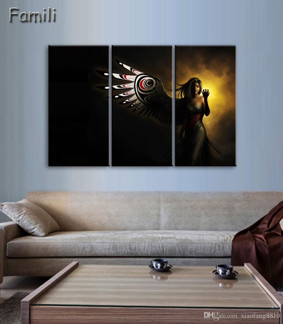 3Pieces/set large HD printed oil painting Angel Girl canvas print art home decor idea wall art pictures for living room