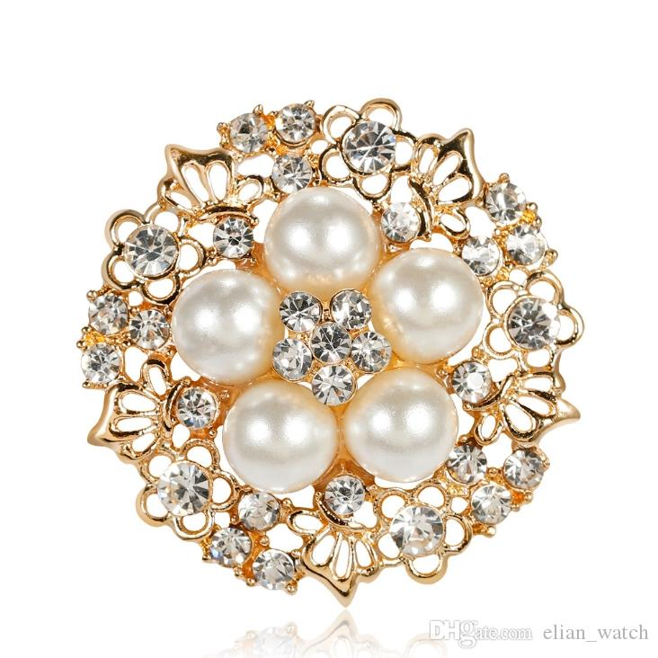 Dress Brooch Small Rhinestone Flower Silver-color Simulated Pearl Brooches for Women Wedding Bridal Broach Breastpin Jewelry Accessories