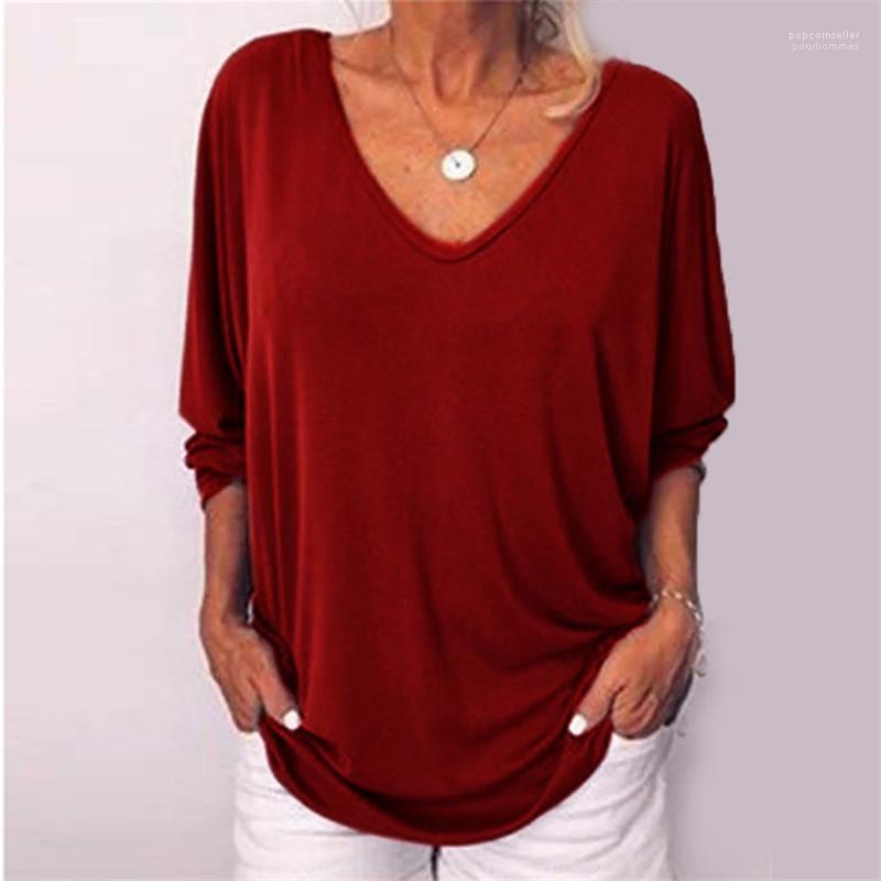 Kleidung Weibliche Pure Color mit V-Ausschnitt Tops Fashion DesignerTshirt Frühling beiläufige Frauen Langarm mit Knopf