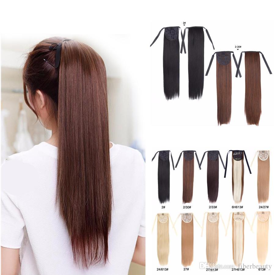 Postiş Isı Yalıtım Saç Sentetik Tail 18 İnç Uzun yılında Auburn at kuyruğu Uzatma Sarışın Siyah Pony Tail Saç Klip