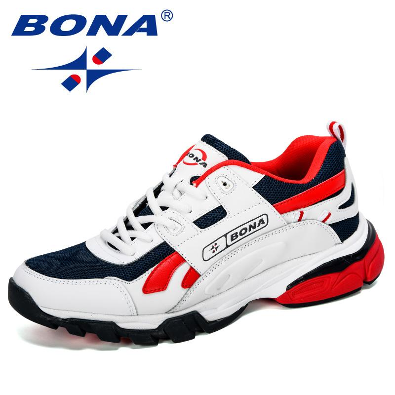 BONA New Designers Male Sneakers Running Shoes Sapatos de desporto dos homens ao ar livre Atlético Krasovki Tennis Man Jogging