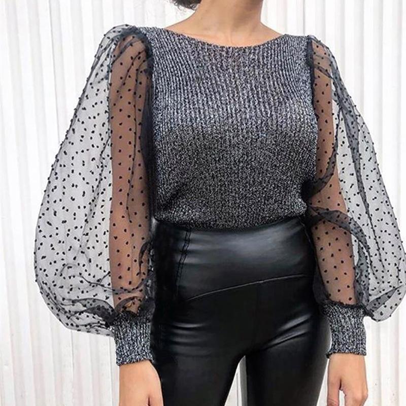 Camisolas femininas Casual ponto impressão malha manga transparente tricotada camisola pulôver inverno primavera mulheres o-pescoço jumpers puxar femme
