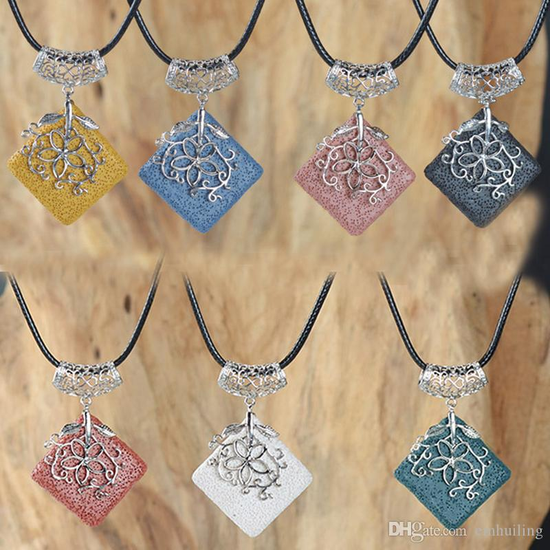 10Pcs Colorful Square Volcanic Stone Inlay Hollow Copper Alloy Flower Pendants Charms Beauty Dyed Lava Rock Pendant for Women Jewelry Making