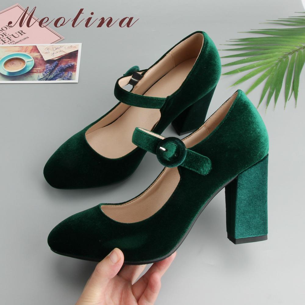 Meotina terciopelo mujeres de los zapatos altos talones de las señoras Mary Jane Zapatos Hebilla Negro Tamaño talones gruesos 2019 Moda Calzado Grandes 34-43