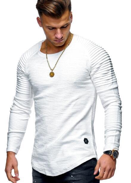 Erkek Sonbahar Kapşonlu Erkekler ler Giyim Yuvarlak Yaka İnce Katı Renk Uzun kollu tişört Çizgili Pileli Raglan Kollu Erkek Giyim