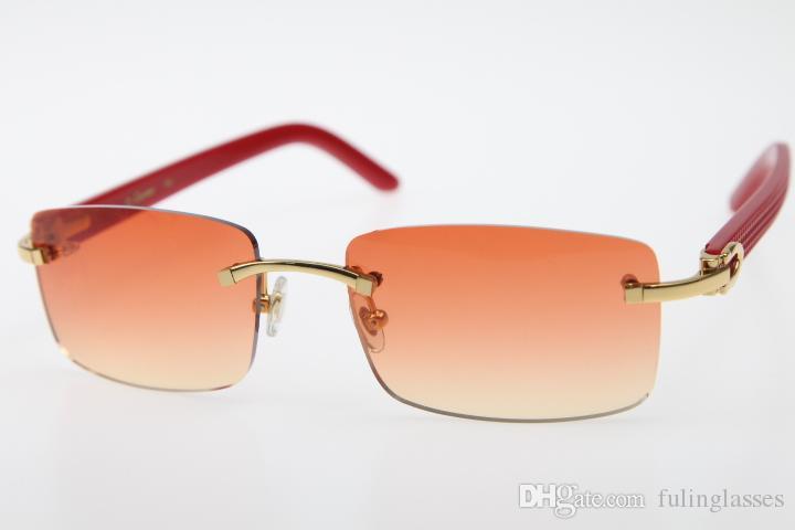 2019 Toptan Rimless Kırmızı Aztek güneş gözlüğü Hot gözlük 3524012 Silah Rimles güneş gözlüğü Sıcak Modeli Unisex tasarımcı Yeni Turuncu Kırmızı Lens gözlük