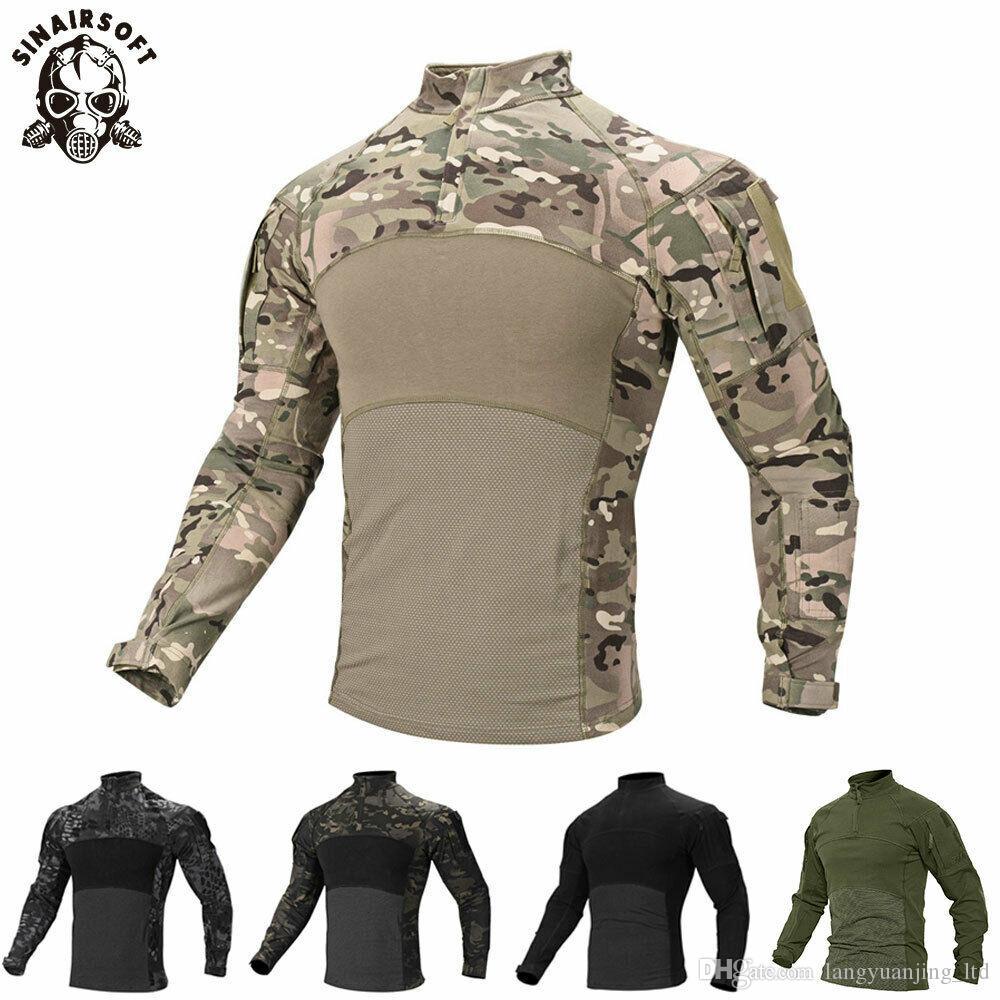 Camuflagem dos homens Tático T Shirt Zip Bolso Manga Comprida de Algodão Respirável G3 Combate Sapo camisa Dos Homens Camisas de Treinamento T-Shirt