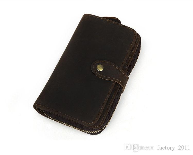 갈색 긴 정품 가죽 사용자 정의 전화 지갑 여행 주최자 지갑 지퍼 큰 지갑 폴리 에스테르 안감 소재 남성용