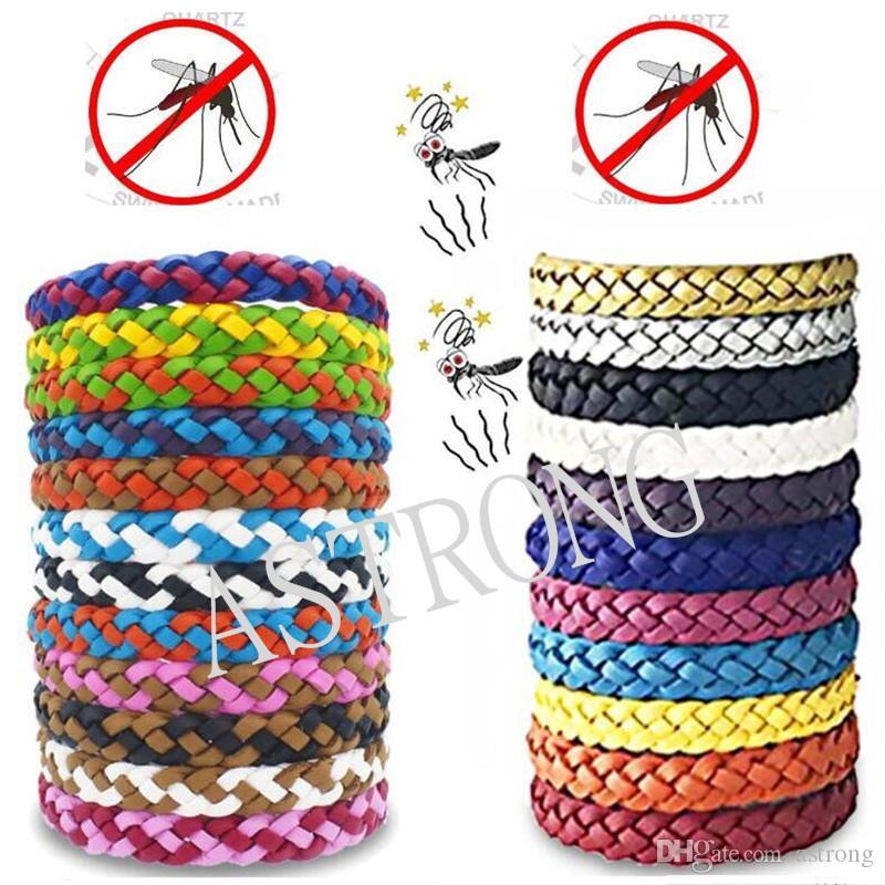 PU cuir anti-moustique Bracelet anti-moustiques Wristband Braid insectifuge Band Pest Control Bug Encart Bracelet Protection A3214