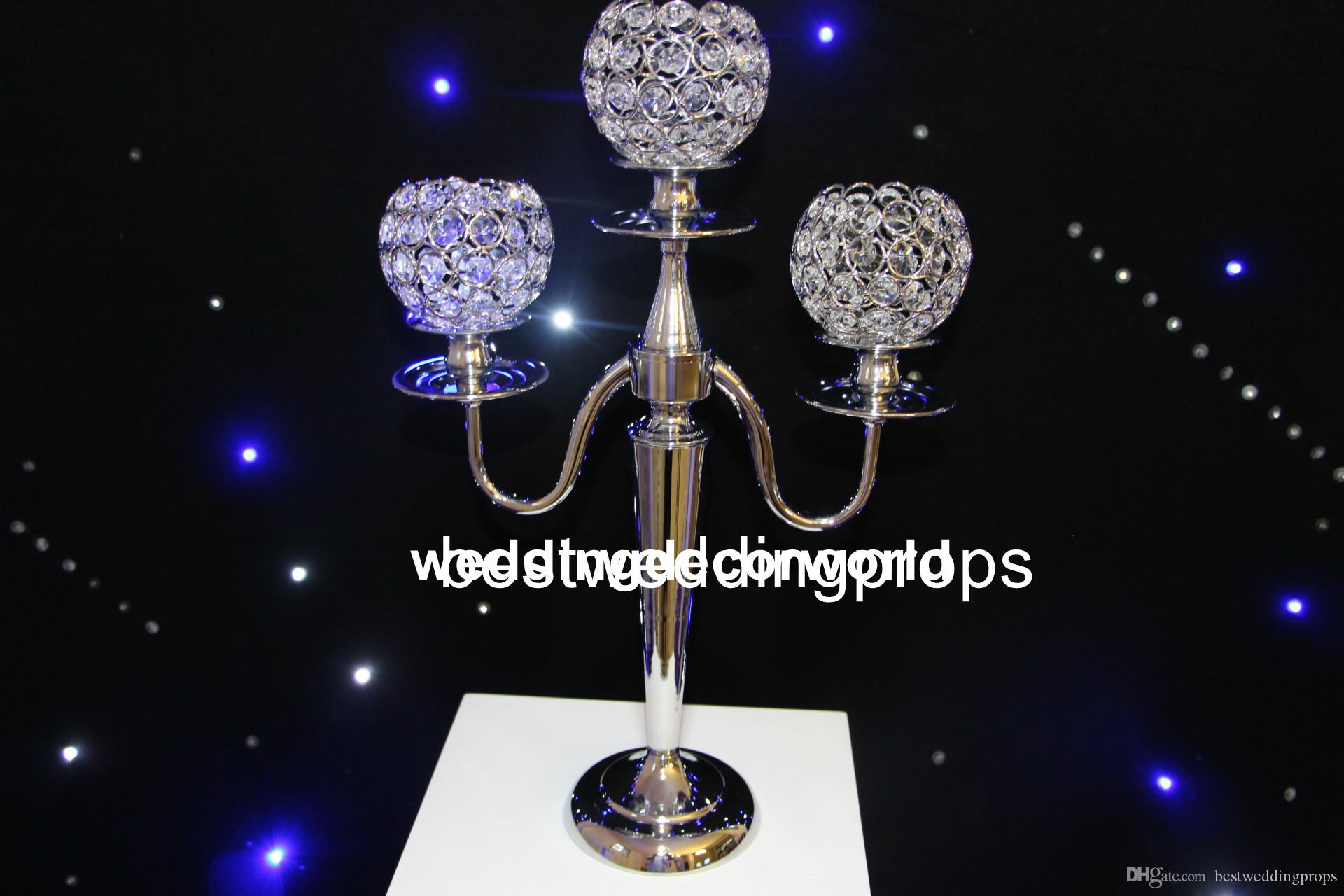 new style sliver Gold 3 Arm Crystal Candelabra Votive Candle Holders Wedding Centerpieces decor731