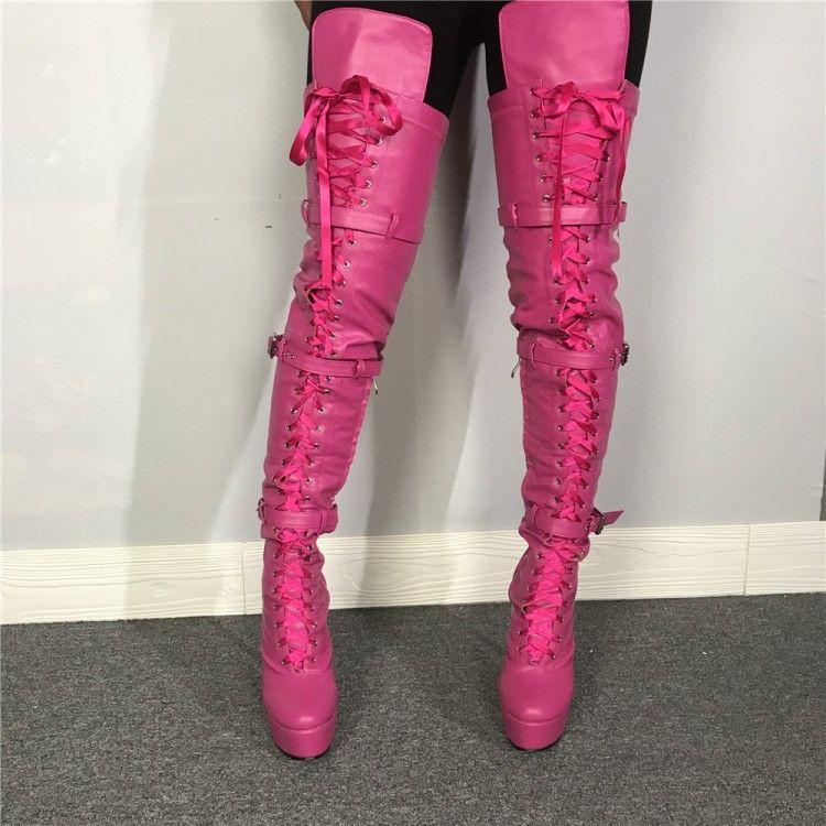 Piattaforma della coscia Rontic Handmade delle donne di alta Boots Stiletto tacchi alti stivali punta rotonda Fucsia Club scarpe da donna più US Size 5-15