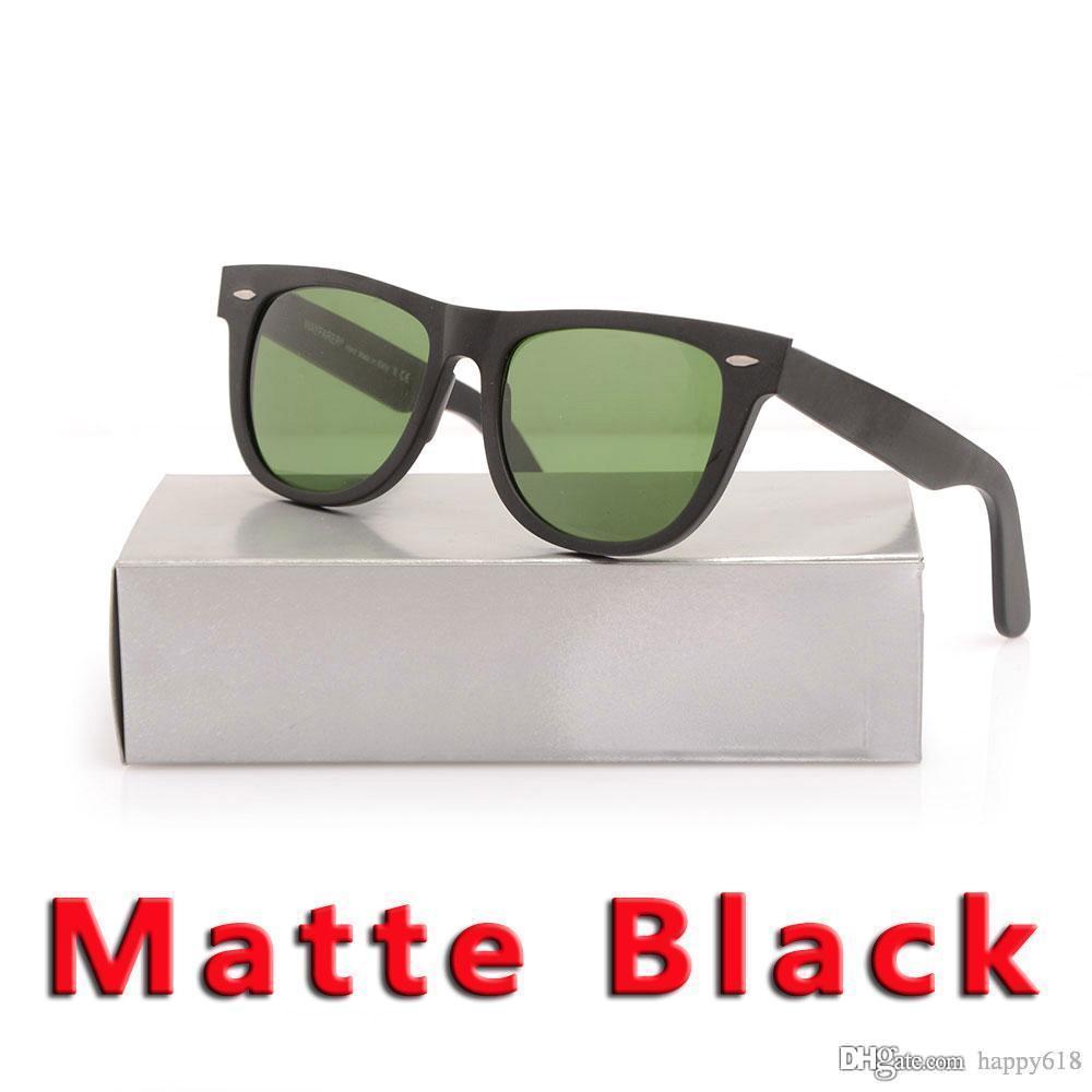 Brand New Matte Black sunglasses mens sun glasses glass Lens Plank sunglasses High Quality women glasses UV protection sun glasses with case