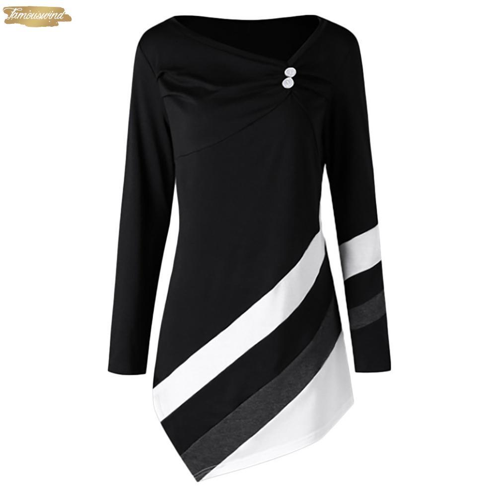 Boyut Bluz Artı Giyim Kadın Sonbahar Kış Gömlek Moda Günlük Asymmtrical Tunik Tops Artı boyutu Camisa Çizgili Feminina Tops