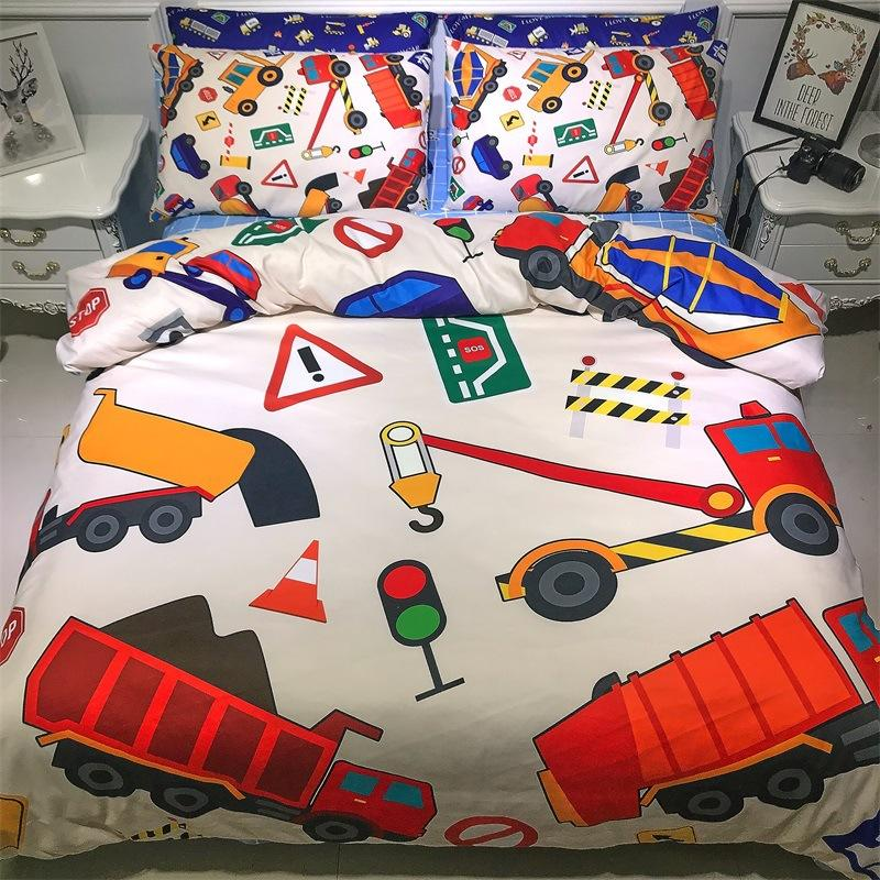 Excavator Trucks Bedding Set Truck Bed Linen Cartoon Kids Boy Bedding Set Single Full Size Bed Sheet Quilt Pillow Cover 5z Queen Size Duvet Cheap