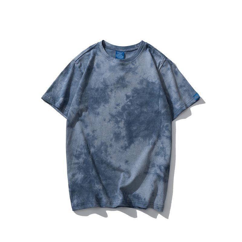 Мужские дизайнерские футболки бренд с коротким рукавом 2020 летняя мода Tie-dye Blue Print роскошные спортивные повседневные футболки с логотипом Hot M-2XL