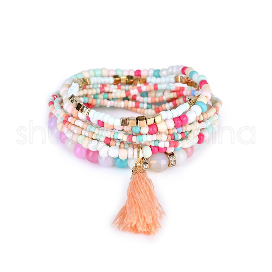 Playa bohemia pulseras cristalinas de múltiples capas de perlas mujeres de la manera del encanto de la joyería de los brazaletes Señora Girl Party Festival TTA1203-14 regalo