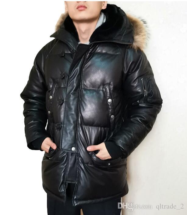 Марка черная кожа овчины пуховики с меховым воротником снежной зимы вниз куртки мужчин из натуральной кожи вниз пальто хорошего качества