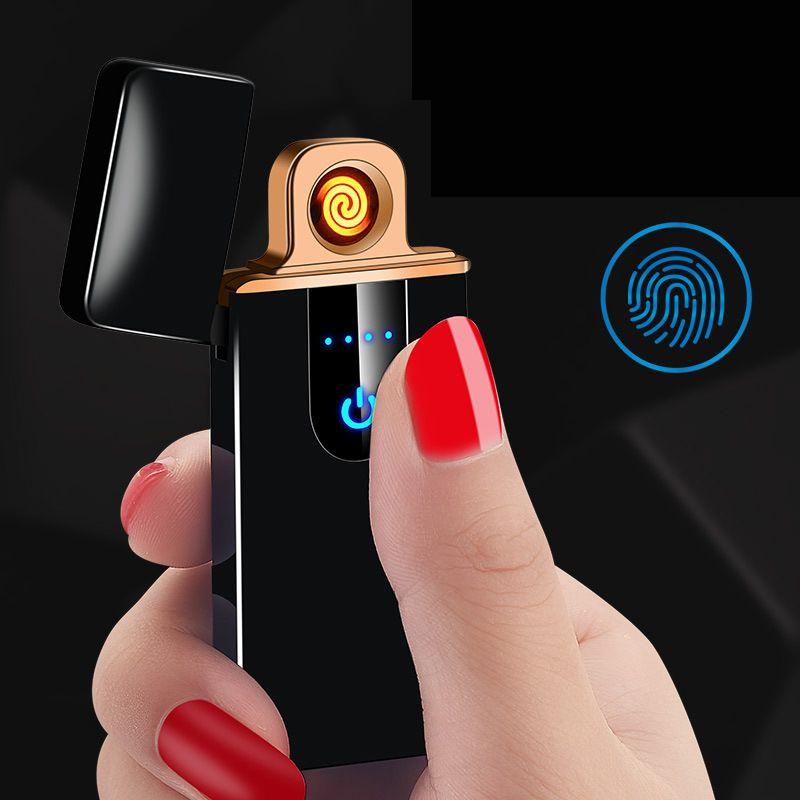 Portátil Interruptor de Tela Sensível Ao Toque USB Recarregável Isqueiro À Prova de Vento Isqueiros de Cigarro Eletrônico Sem Chama Cozinha Mais Leve Xmas Melhor Presente