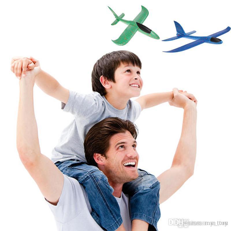 48cm Modelo plano DIY tiro de la mano aviones volando planeador Juegos al aire libre Trick padres e hijos la espuma del avión planeador del juguete juguetes de bebé para niños