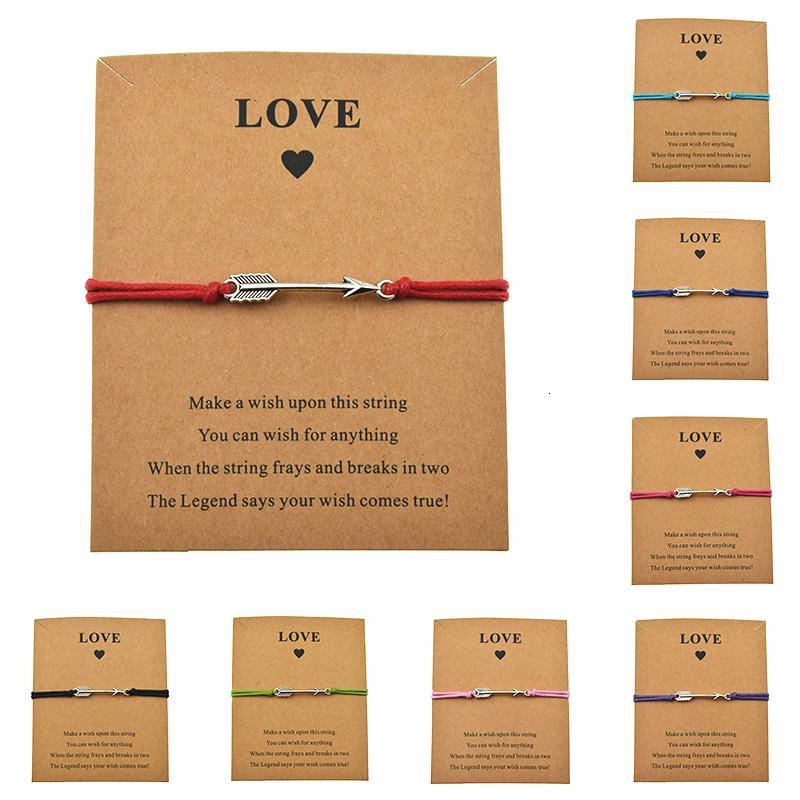 Personalidade fazer um cartão Amor Curva E Seta Braceletes ajustáveis para presentes do dia Mulheres Homens Namorados Unique Jóia