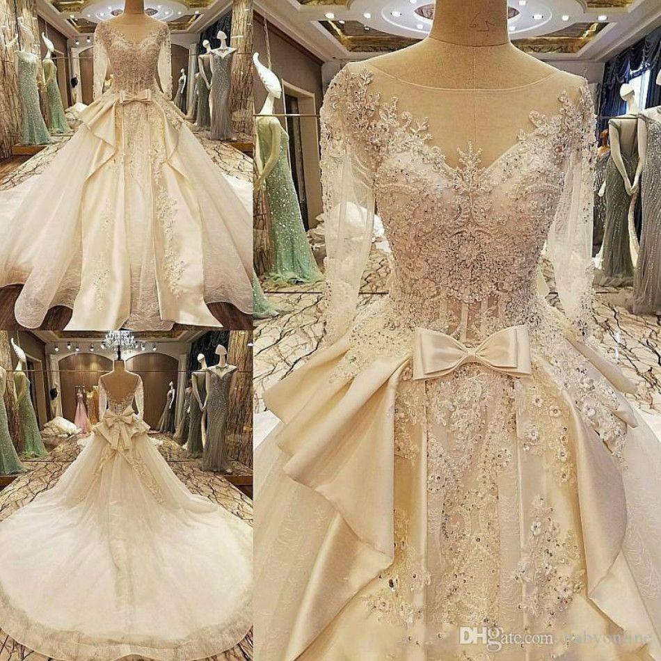 платье снег сад v Болл шеи 2020 Элегантных осенью длинные рукава кристаллов связать свадебные платья западных свадебных свадебных платьев