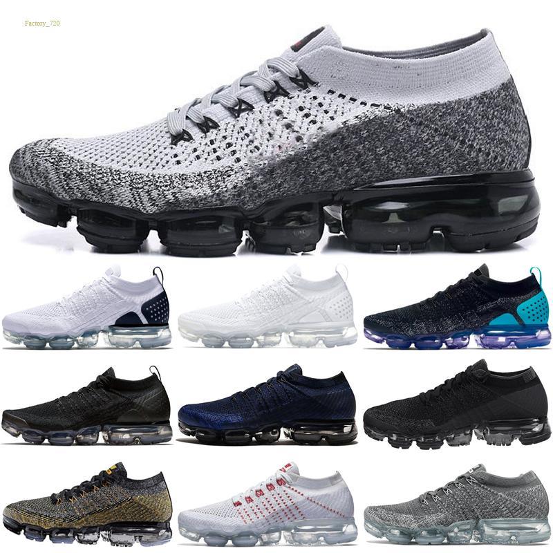 Nike flyknit Air VaporMax 2018 Nuovi designer 2018 vapori Arcobaleno morbide suole essere vero soft scarpe da corsa per le scarpe uomini di modo di qualità reale sport scarpe 40-45
