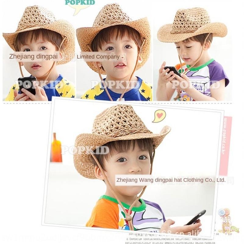 Touyu coreano per bambini stile denim estate tessuti a mano moda cava cappello di paglia cappello da sole ombrellone di paglia 7qBCu