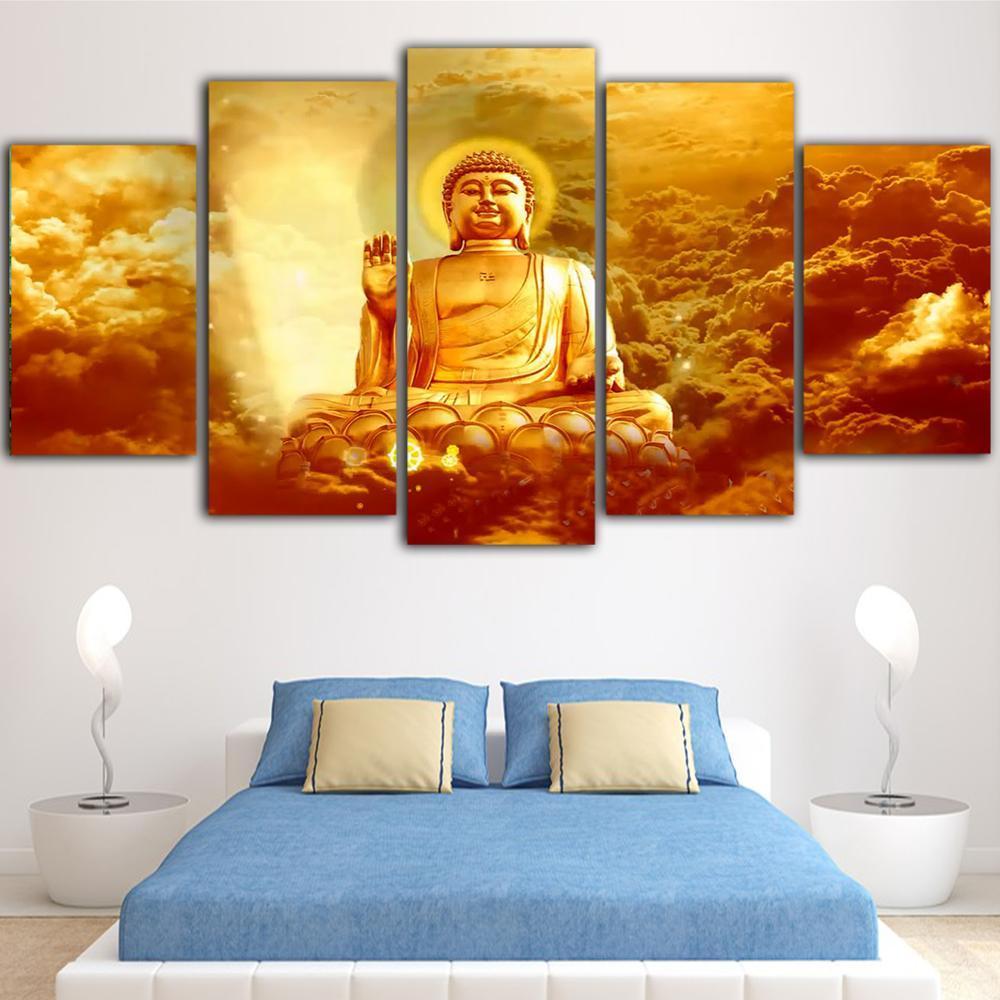Canvas Prints HD Golden Buddha Pictures Wall Art Budismo Pintura Home Decor Religião Modular Poster Para Sala Framework