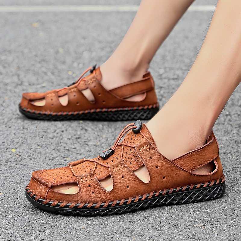 Hommes véritable extérieure en cuir Sandales d'été respirant Chaussures Casual Chaussures à la main sandales de plage Chaussures de sport d'eau grande taille 48