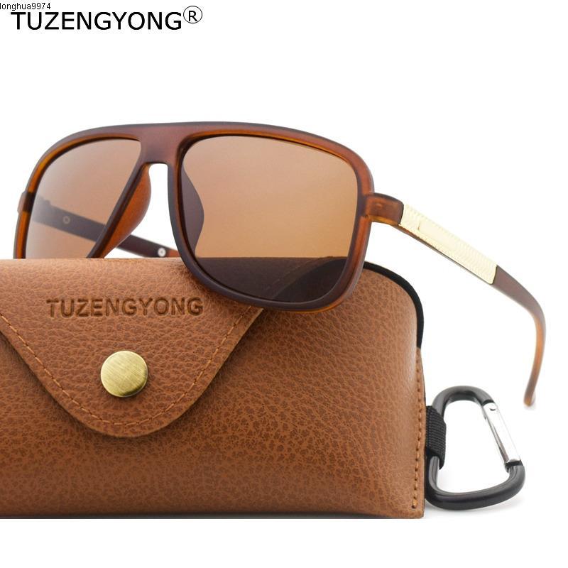 Tuzengyong 2020 New Classic Retro occhiali da sole polarizzati degli uomini del rivestimento di guida di vetro di Sun Piazza Eyewear Maschio all'aperto Goggles