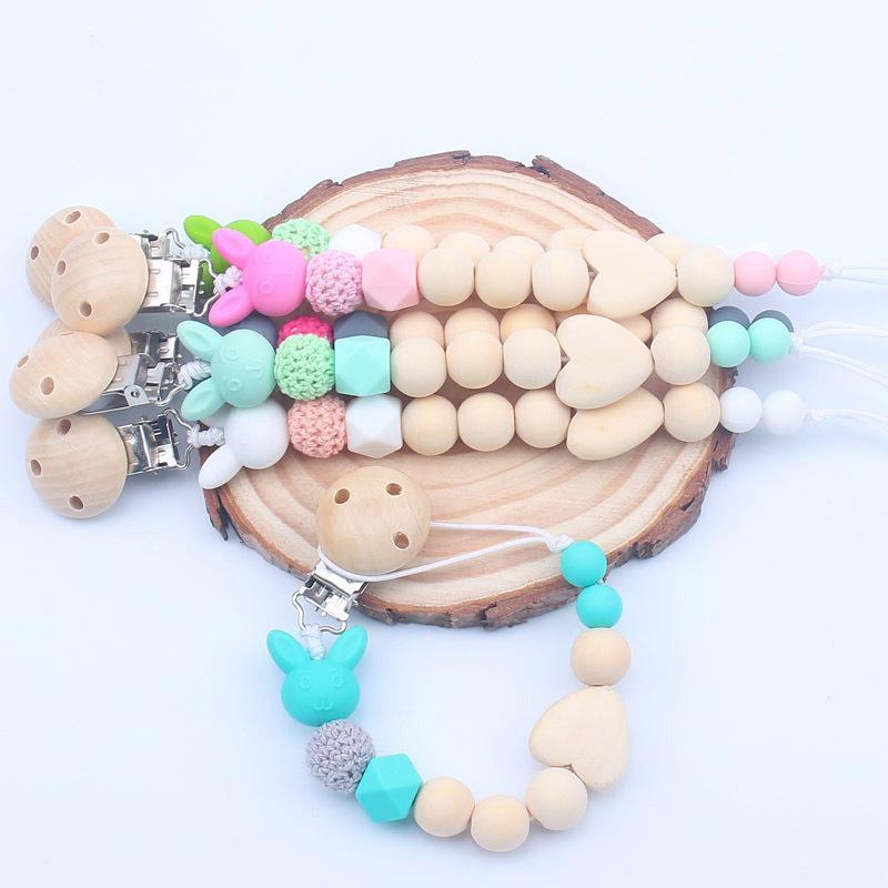Silicone En Bois Perle Tétine Chaîne Clips Alimentation Bébé Accessoires Vente Chaude Infant Toddlers Sûr Tête De Lapin Tétines Tétines Tétine
