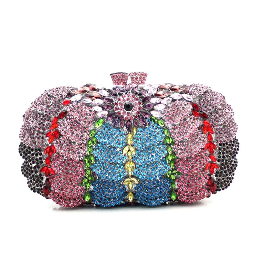 All'ingrosso della fabbrica floreali con strass frizioni di cristallo di Borse di metallo per il partito delle donne di sacchetto di cristallo colorato Evening Clutch