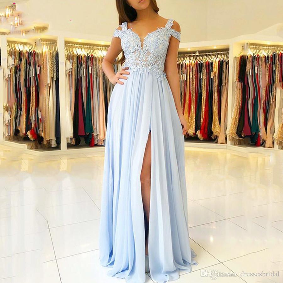2019 chiffon blu al largo della spalla Prom Dresses Plus Size Applique una linea di partito dei vestiti da sera vestito convenzionale Personalizza