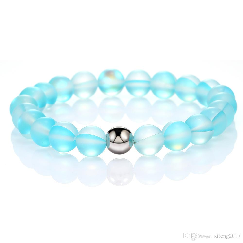 8 mm de design de mode Verre Cristal naturel Perle Bracelet éclair Pierre pour Femmes Hommes coloré Moonstone Dull Bracelet ethnique givré polonais