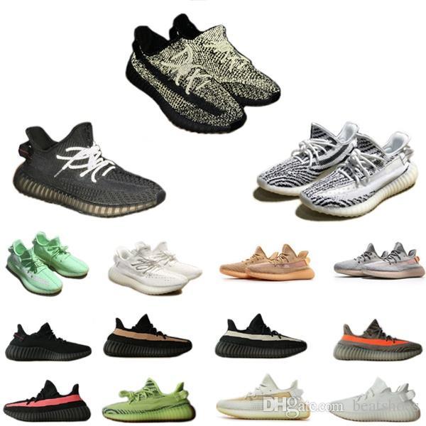 2019 Kanye West GID Siyah Tam Statik Refective Sneakers Tasarımcı Ayakkabı Erkekler Glow Yeşil Koşu Ayakkabıları YENI Zebra Üçlü Beyaz Oreos eğitmenler