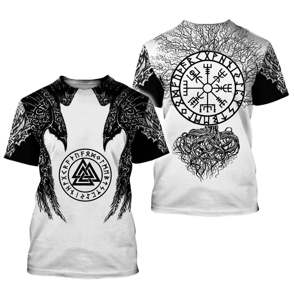 Viking símbolo - Odin tatuaje 3D Impreso camiseta de los hombres de moda de Harajuku Camiseta de manga corta ocasional del verano unisex tapas de la camiseta WS358 Y200409