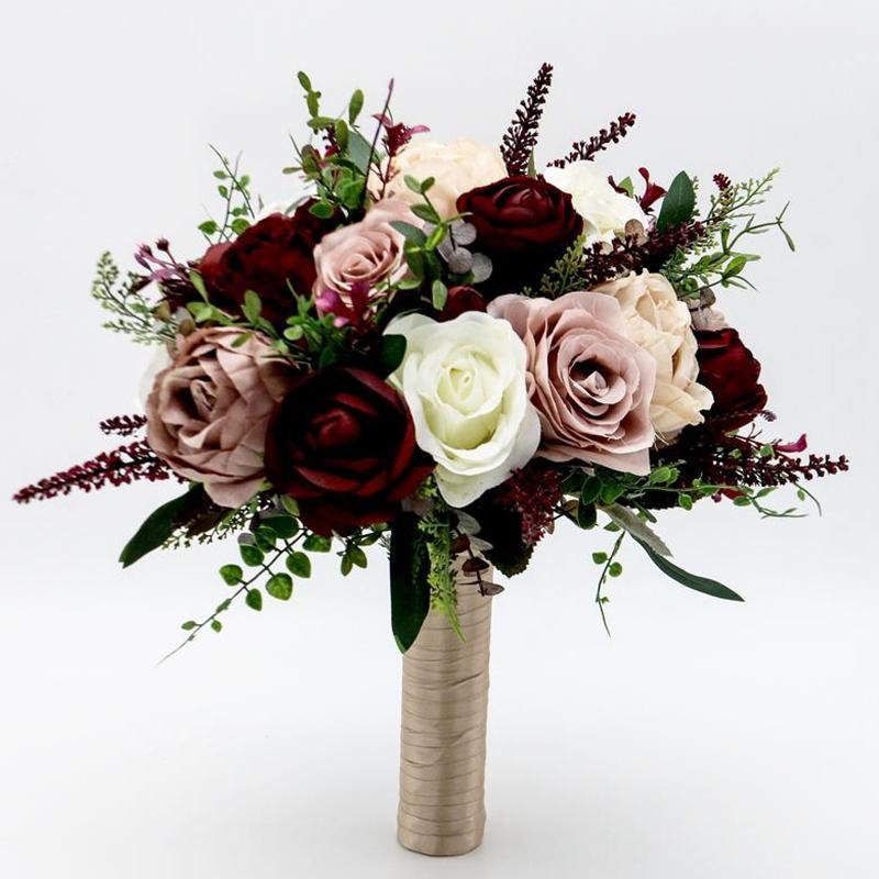 Gelin Buketi Ipek Düğün Çiçekler Tozlu Gül Şarap Buketi Boho Çiçek Yapay Buket Düğün Çiçek Düğün Aksesuarları