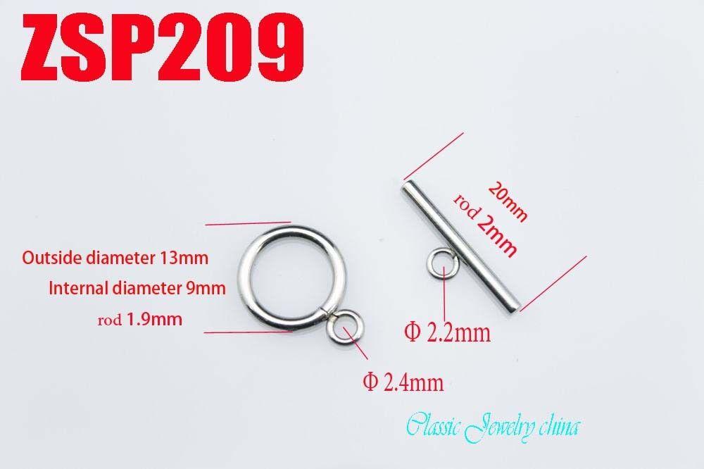 Kunafir Rvs Necklace Circle Toggle Rod Bar Clascs Set Armband Verbinding Sieraden Accessoires Onderdelen ZSP209 / ZSP210