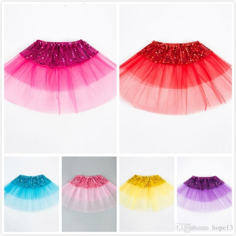 Brilho Partido Meninas crianças Bling Lantejoula Princesa Saias menina Crianças Tulle Ballet Dancewear crianças curto bolo Saia Dança