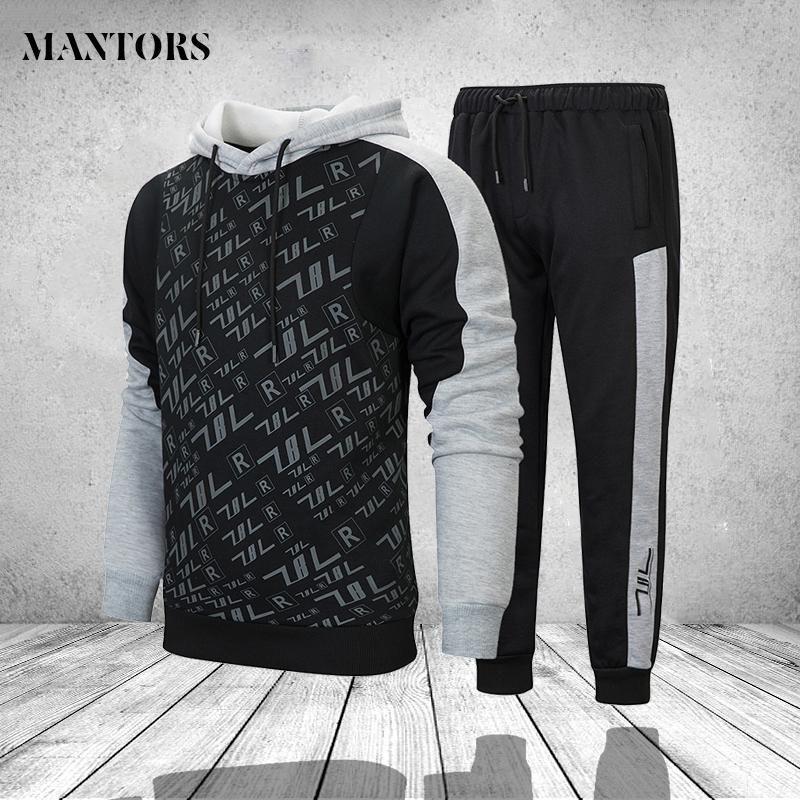 Winter Men Hoodies Set With Pants Casual Tracksuit Mens Clothes Letter Printed Hooded Hoodie Sweatshirt Sportswear Men's Sets
