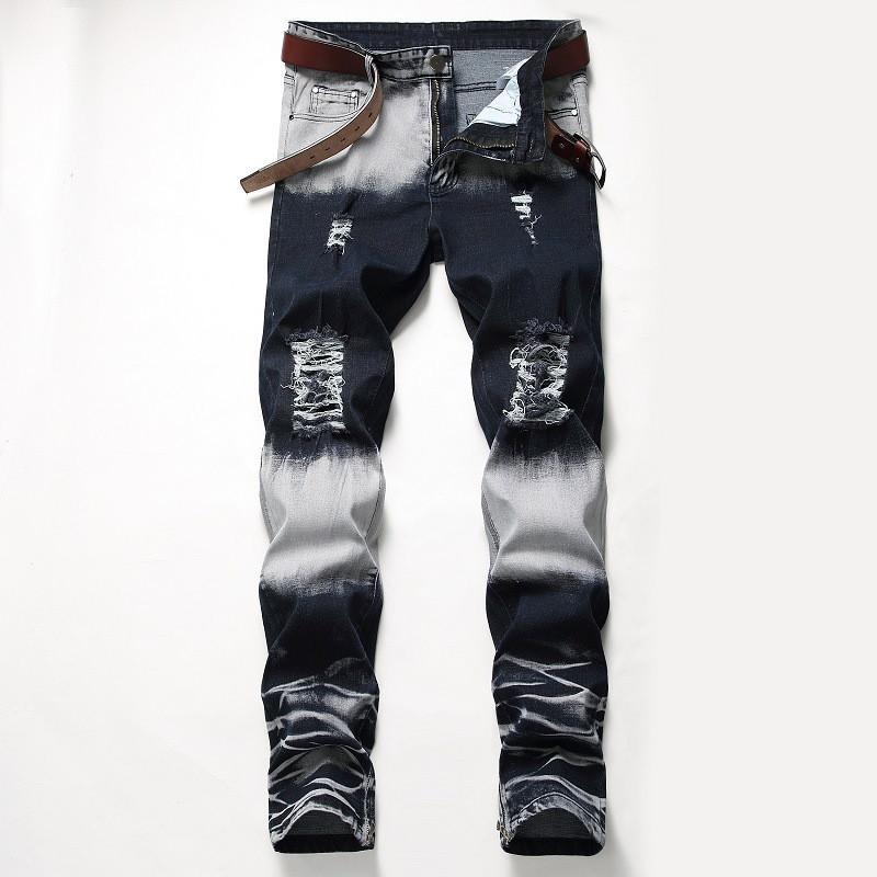 Distrressed Mavi Beyaz Delikler Stretch Mens Uzun Kot Düzenli Orta Bel Düz Erkek Pantolon Moda Erkek Giyim