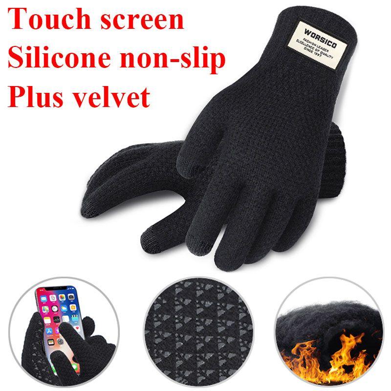 Men Women Warm Mittens Fleece Lined Thermal Knitted Touch Screen Winter Gloves