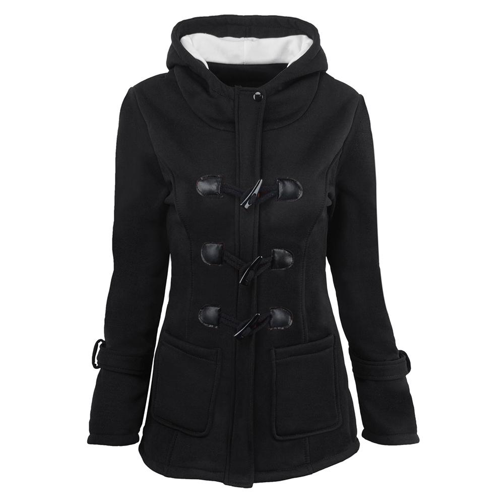 Kadınlar Parkas İnce Nedensel Coat İlkbahar Sonbahar Kış Lady Palto Kadın Kapşonlu Coat Fermuar Boynuz Düğme Ceket Casaco Feminino eskitmek