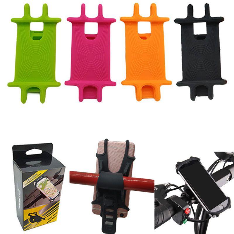 Silicone Bike Motorcycle Handlebar Mobile Phone Mount Holder Bicycle Phone GPS Stand Bracket Cradel Universal Adjustable