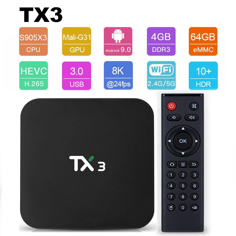 Tanix TX3 Smart TV BOX Android 9.0 Amlogic S905X3 8K Media Player 4GB RAM 32GB 64GB ROM 2.4G/5GHz Dual Wifi BT H.265 Set Top Box